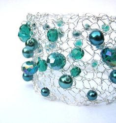 Knitted Wire Bracelet Teal Green Beaded Bracelet by frenchsoul, $21.00