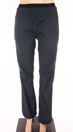LULULEMON Signature Logo Waist Band Pants Size 6 S Small Black Unlined Studio #Lululemon #PantsTightsLeggings