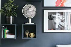 petit studio caisse bois étagère diy peinture bleu