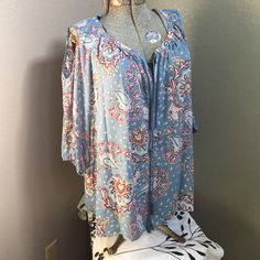 """Plus Size Paisley Peasant Top 3/4 sleeve elastic on sleeve. Key hole front with string tie and arm hole cutouts. Length 30"""". Daniel Rainn Tops Blouses"""