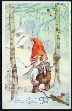Julekort Trygve M. Davidsen Snadderøkende nisse i skogen Utg Mittet, stemplet 1942