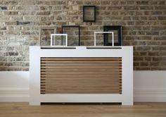 Ideas radiator Panel white modern style wooden slats picture frame art deco