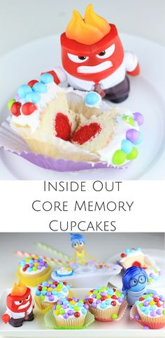 "Planning an Inside Out party? Check out these adorable Inside Out cupcakes filled with ""core memories"""