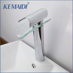 KEMAIDI Chrome Bathroom Sink Faucet Glass Water Basin Tap For Bathroom Torneira Para De Banheiro Water Taps #Affiliate
