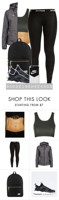 """""""5/27/16"""" by codeineweeknds ❤ liked on Polyvore featuring Topshop, Ivy Park, NIKE and Herschel Supply Co."""