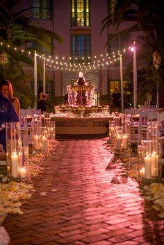 Twilight Wedding Ceremony with Water Fountain and Candle Lined Aisle  - St. Petersburg, FL Vinoy Wedding Modern White, Silver & Royal Blue - St. Pete Wedding Photographer Aaron Lockwood Photography