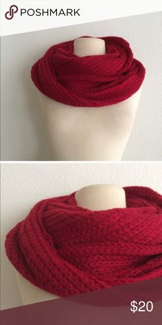 🆑LAST ONE! Red infinity scarf Red knit infinity scarf. 100% acrylic. These are extremely soft and warm!  ⭐️This item is brand new with manufacturers tags or in original packaging. 🚫NO TRADES 💲Price is firm unless bundled 💰Ask about bundle discounts Accessories Scarves & Wraps