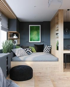 bedroom inspirations for your small bedroom or tiny house Small Apartment Bedrooms, Small Apartment Design, Small Bedroom Designs, Studio Apartment Decorating, Apartment Layout, Apartment Interior, Small Apartments, Tiny Bedrooms, Bedroom Small