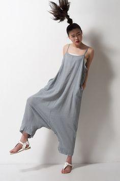 grey linen maxi dress pantsa pants a dress black grey by dongli