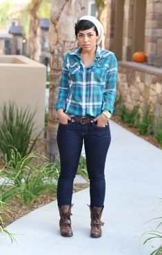Mimi G Style: Work It Wednesday! I Heart Plaid & Slouchy Boots Denim Fashion, Fashion Outfits, Womens Fashion, Fashion Sewing, Fashion Edgy, Fashion Styles, Sexy Jeans, Plus Size Fall Outfit, Outfits