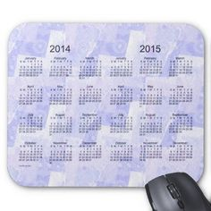 Blue Patchwork 2 Year 2014-2015 Calendar Mouse Pad Design from Calendars by Janz