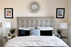A simple tufted headboard - as seen here in Linda's Fashionably Modest Condo - is an easy way to add a little sophistication to a bedroom. Additionally, the padded headboard is a perfect place for leaning your back while reading in bed.