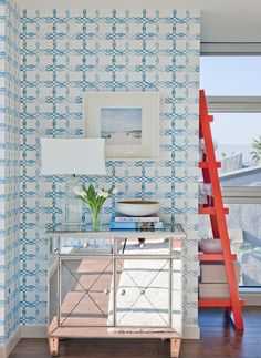 Just lovely! Everything! Blue and white wallpaper and poppy detail.