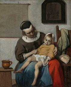 'Het zieke kind' door Gabriël Metsu uit 1664. In 1663 woedt de pest in Amsterdam. Eén op de tien Amsterdammers overlijdt. Rond deze tijd schilderde Metsu dit ontroerende, zieke kind, in krachtige, heldere kleuren, tegen een grauwe achtergrond. Het tafereel doet denken aan een piëta: Maria met het dode lichaam van Jezus op haar schoot. Ook het schilderij tegen de achterwand, met Christus aan het kruis, herinnert aan dit lijden.
