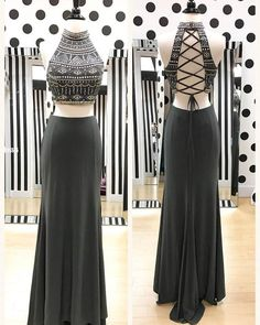 Gray Chiffon Two Piece Prom Dresses, Formal Dresses, Graduation Party Dresses, Banquet Gowns on Luulla