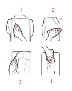 How to Iron Your Shirt in Four Quick Steps    Fit your shirt, back side facing up, over the rectangular end of your board (not the pointy end).     Not enough space to type so read the rest here http://www.gq.com/style/style-manual/201204/shirts-guide-sizing-fit#slide=19