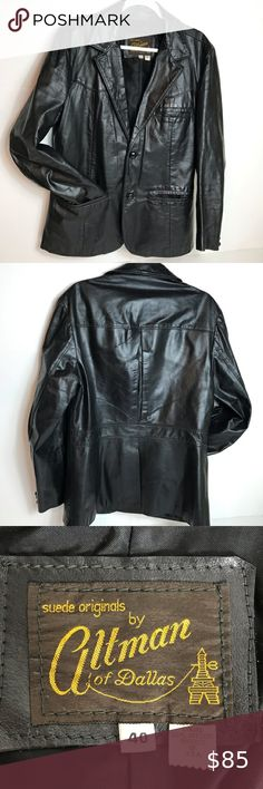 Altman of Dallas vintage leather jacket Amazing quality and condition! Fully lined with two front buttons altman Jackets & Coats Mens Leather Blazer, Vintage Leather Jacket, Leather Men, Dallas, Plus Fashion, Fashion Tips, Fashion Trends, Buttons, Man Shop