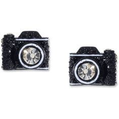 Betsey Johnson Black Camera Stud Earrings ($30) ❤ liked on Polyvore featuring jewelry, earrings, accessories, brincos, bijoux, stud earring set, studded jewelry, betsey johnson jewelry, black jet jewelry and betsey johnson