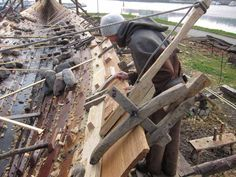 So in our next installment in Viking boatbuilding we take the planks that were previously cleft , rough hewn and planed and trial fit them...