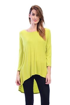 Mid Sleeve Hi-Low Tops  Color- Lime#tops  #tunics  tees  neck top  #scoop neck #lime
