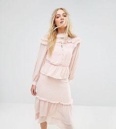 True Decadence Tall Premium Metallic Chiffon Layered Ruffle Midi Dress