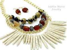 CLEARANCE Sale Jungle Fever Natural Stone Necklace Set Tribal Look Brown Beige | eBay #SophiaMariaJewelry