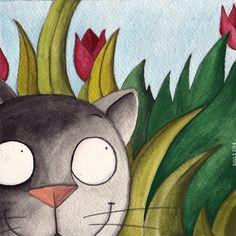 #gatto #cat #fiori #illustrazioni #illustration