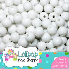 GUMBALL Beads 8mm Beads WHITE Bead 75 ct by LollipopBeadShoppe, $3.50