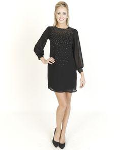 Black Dresses - Cluster Diamante Shift Black Dress - http://www.blackdresses.co.uk
