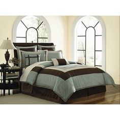 http://www.sears.com/blowout-bedding-8pc-bed-in-a-bag-hamptan/p-0000000000000000964000000000000000000741P?prdNo=35    BlowOut Bedding- -8pc Bed in a Bag Hamptan Chocolate/Aqua Blue Comforter Set