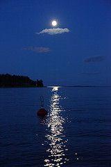 The glittering reflection of the moon on water (kuunsilta in Finnish)