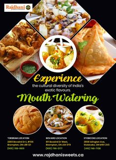 Rajdhani Sweets & Restaurant - one of the best Indian vegetarian food restaurant in Brampton, Etobicoke, Torbram, Bovaird. Food Menu Design, Food Graphic Design, Indian Sweets, Indian Snacks, Cultural Diversity, Food Catalogue, Food Truck Menu, Yummy Food, Ethnic Recipes
