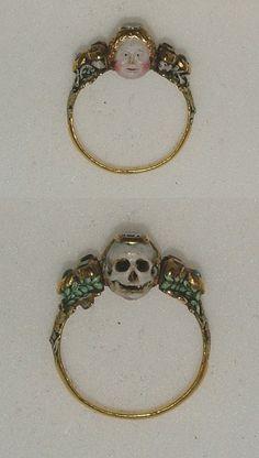 Memento Mori ring  http://ljspillowbook.tumblr.com/post/43043100145/centuriespast-memento-mori-ring-late-17th