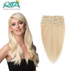 """16""""-28"""" Blonde Clips In Human Hair Extensions Full head Real Remy Human Hair Extensions Clip In Cabelo Tic Tac >>> See this great product."""