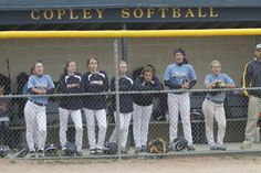 Hillsdale High School's bench cheers on the team against Columbia High School during high school softball action Tuesday, May 20, 2015 at Copley High School.