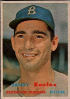 Sandy Koufax 1957 Topps--on the list of Sandy's best cards. See others and find them for sale inside!