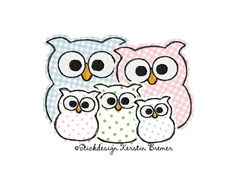 Eule Ursula mit Familie ♥ Eulen Familien doodle Stickdatei. Owl family with kids and baby owl. Doodle appliqué embroidery design for embroidery machines.  #sticken #eulenliebe