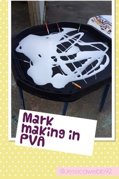 Mark making in PVA glue.