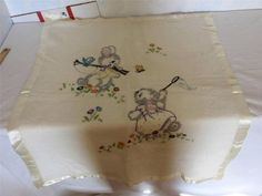 WOW VINTAGE WOOL BABY BLANKET W SATIN BINDING IVORY HAND EMBROIDERED BUNNIES