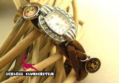 LOVELY - Flechtuhr Vintage retro Bettelarmband Uhr von Schloss Klunkerstein - Uhren, von Hand gefertigter Unikat - Schmuck aus Naturmaterialien, Medaillons, Steampunk -, Shabby - & Vintage - Schätze, sowie viele einzigartige und liebevolle Geschenke ... auf DaWanda.com