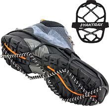 "According to the website, YakTrax are 'named after the sure-footed Tibetan Yak."" Great for running - just be sure to take them off before you walk inside a coffee shop apres-run - pretty slippery without the packed snow under them!"
