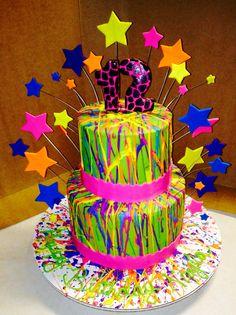 Neon buttercream splatter cake