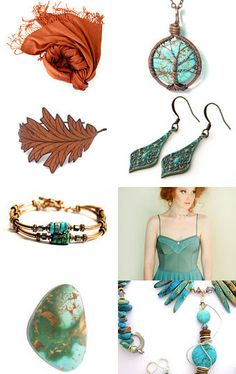 """☛www.etsy.com/shop/paroliro ~ """"Cinnamon, let me in!"""" features Fall Autumn fashion accessories in shades of cinnamon, nutmeg, copper with turquoise and aquamarine blues from talented fellow worldwide Etsians [*Click on image to see all 16 items I chose and for more information] --Pinned with TreasuryPin.com ☚"""