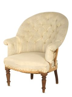 """Jayson Home  Antique Unupholstered Chair.  """"fauteuil crapaud"""""""