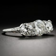3.15 Carat Three-Stone Diamond Art Deco Platinum Ring - 10-1-6937 - Lang Antiques