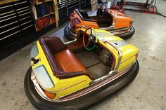 Recently imported from Germany, these two gorgeous post-war Dodgem cars could be said to have had a significant number of 'less than careful' owners! Read on... #RestorationProject #DodgemCars #GamesRoom #ArcadeGames