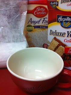 3-2-1 single serve microwave cake.  1 box any flavor cake mix  1 box angel food cake  mix together  3 tbsp cake mix in a coffee cup  2 tbsp water  1 minute in the microwave  bam fresh cake.