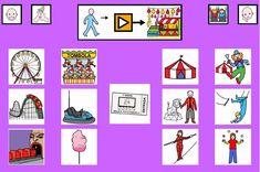 """""""Tablero de comunicación: feria y circo"""". Recopilación de diferentes tableros de comunicación de 12 casillas, organizados por necesidades básicas y centros de interés. Los tableros pueden imprimirse tal como aparecen en los documentos o bien se puede modificar el contenido, la forma, el color, etc., para adaptarlos a las características individuales de cada usuario. Pueden utilizarse también para trabajar distintos repertorios de vocabulario agrupado por temas o categorías."""