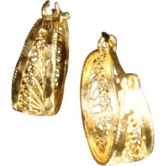 14K Gold Lever Back Cut Out Filigree Earrings So. IL Estate