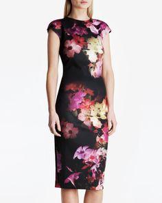 Cascading floral midi dress - Black   Dresses   Ted Baker UK
